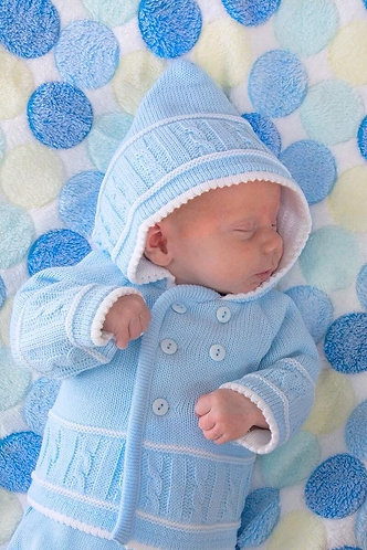 Knitted Hooded Jacket    Newbaby, 0/3m,3/6m,  Blue, Grey, White, Pink