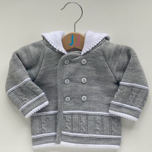 Unisex Knitted Grey Hooded Jacket