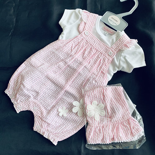 3 piece Candy stripe Romper Set And Hat