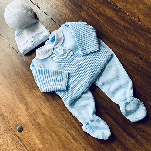 Boxed 2 piece Boys Spanish Fine Knitted Long Leg Set + Hat