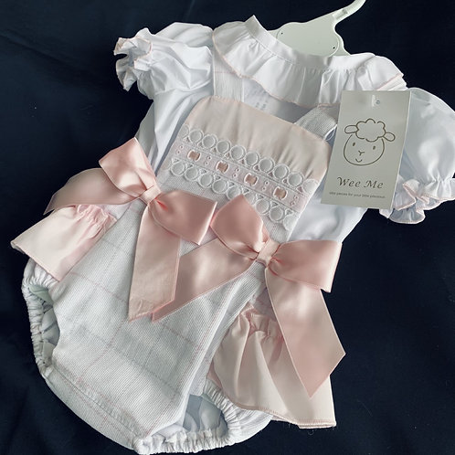 WEE ME Pink Two Bow Romper Set
