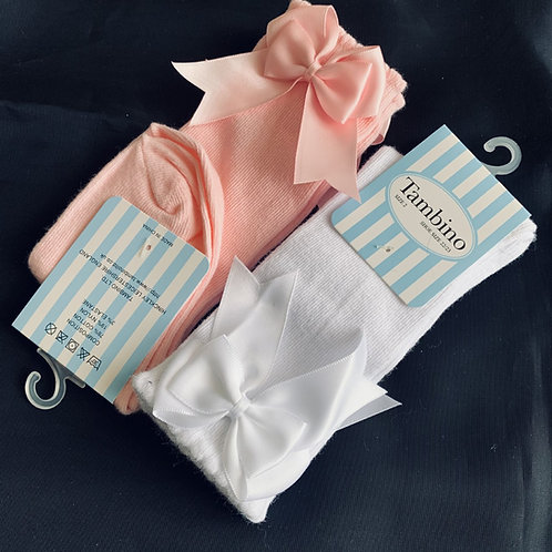Assorted (2pack Pink+White) Knee Bow Socks