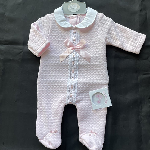Girls' Pink ONESIE, (Lace and Bow)