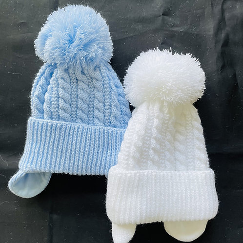 """""""Baby Topsy Cabled Pom-Pom  Baby Hat (Lined)"""
