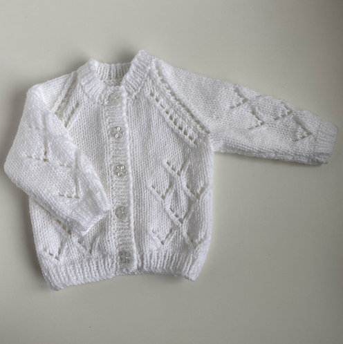 Hand-Knitted White Cardigan New Baby Size