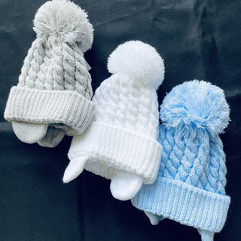 """""""Prince"""" Cabled Pom-Pom  Baby Hat (Lined)"""