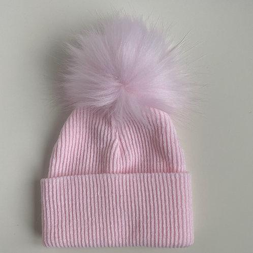 1 Pom-Pom Pink Fluffy Baby Hat   0-3 months