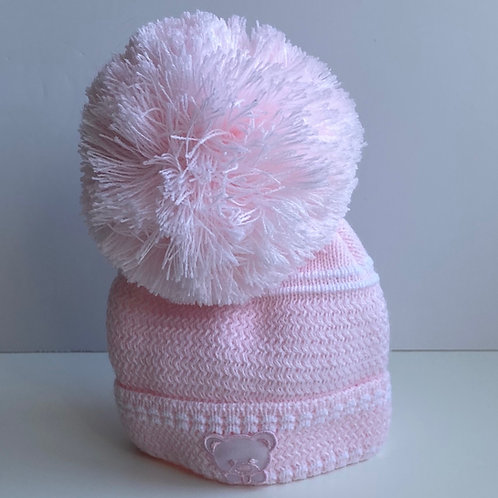 Newborn Teddy motif Hat In Pink