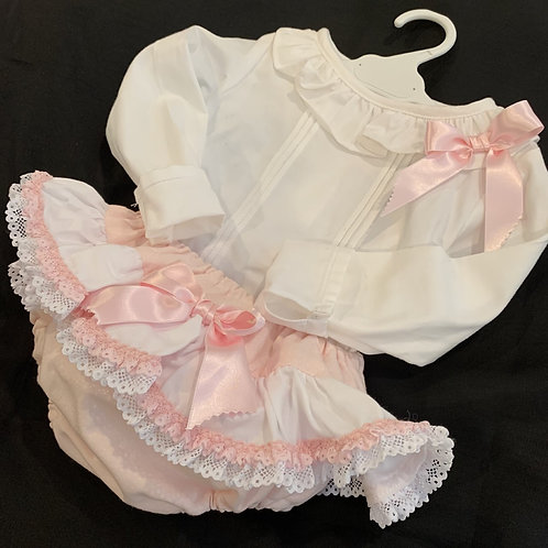 Pink and White Jam Pants Set