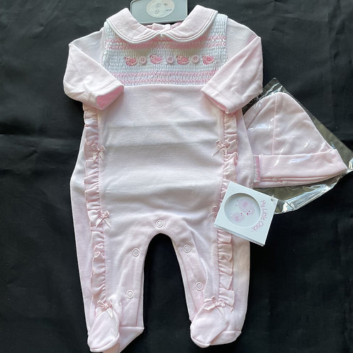 Girls' Pink ONESIE + Hat, (Bows and Frill)