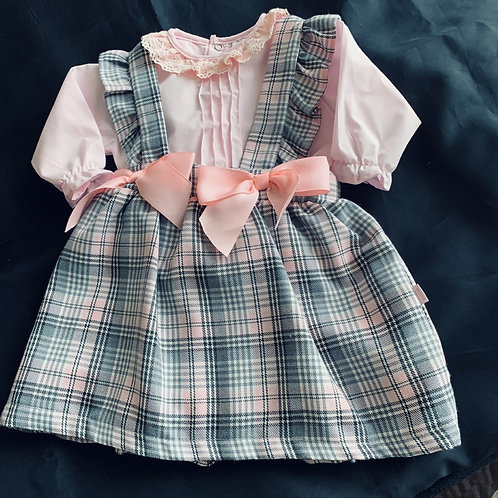 Pink and Grey Blouse and  Bow Pinafore