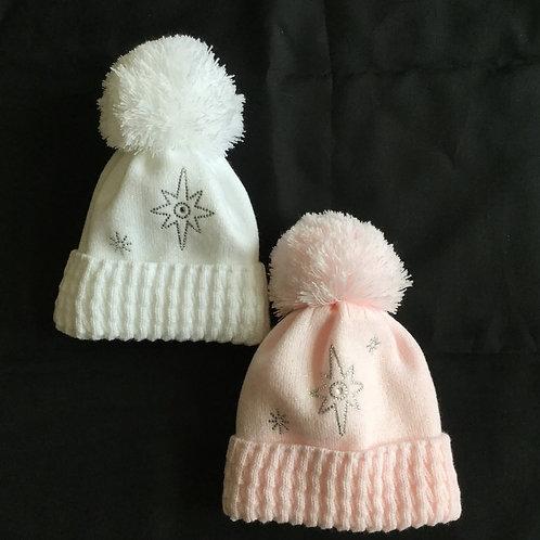 Pom Pom Hat with Bow and diamonte Starburst