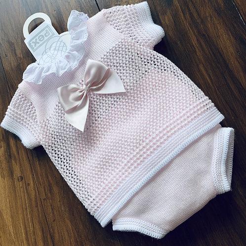 Summer fine Knit,   Pink Lacey 2 Piece Set