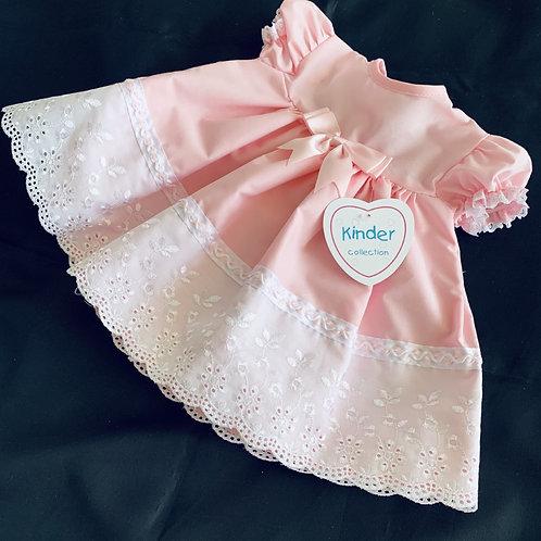 Pink B/Anglaise Hem  Baby Dress + Free Fancy Socks