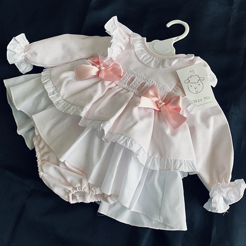 WEE ME Pink Two Bow Dress and Pants Set