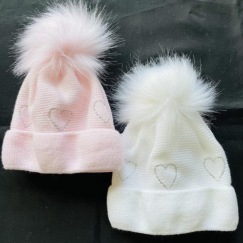 """""""Sweetheart"""" Fluffy Pom-Pom Hat, Lined,  (Diamonte Heart Motif)"""