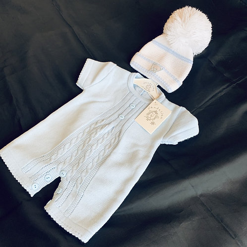 Cable Romper and Hat Set