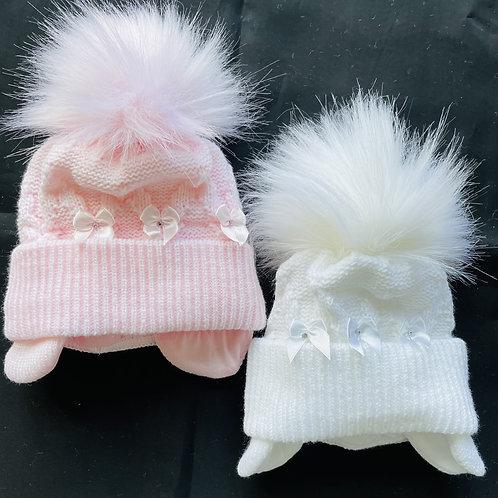 """Baby Pavlova"" Fluffy Pom-Pom Hat (Diamond and Bows) Lined"