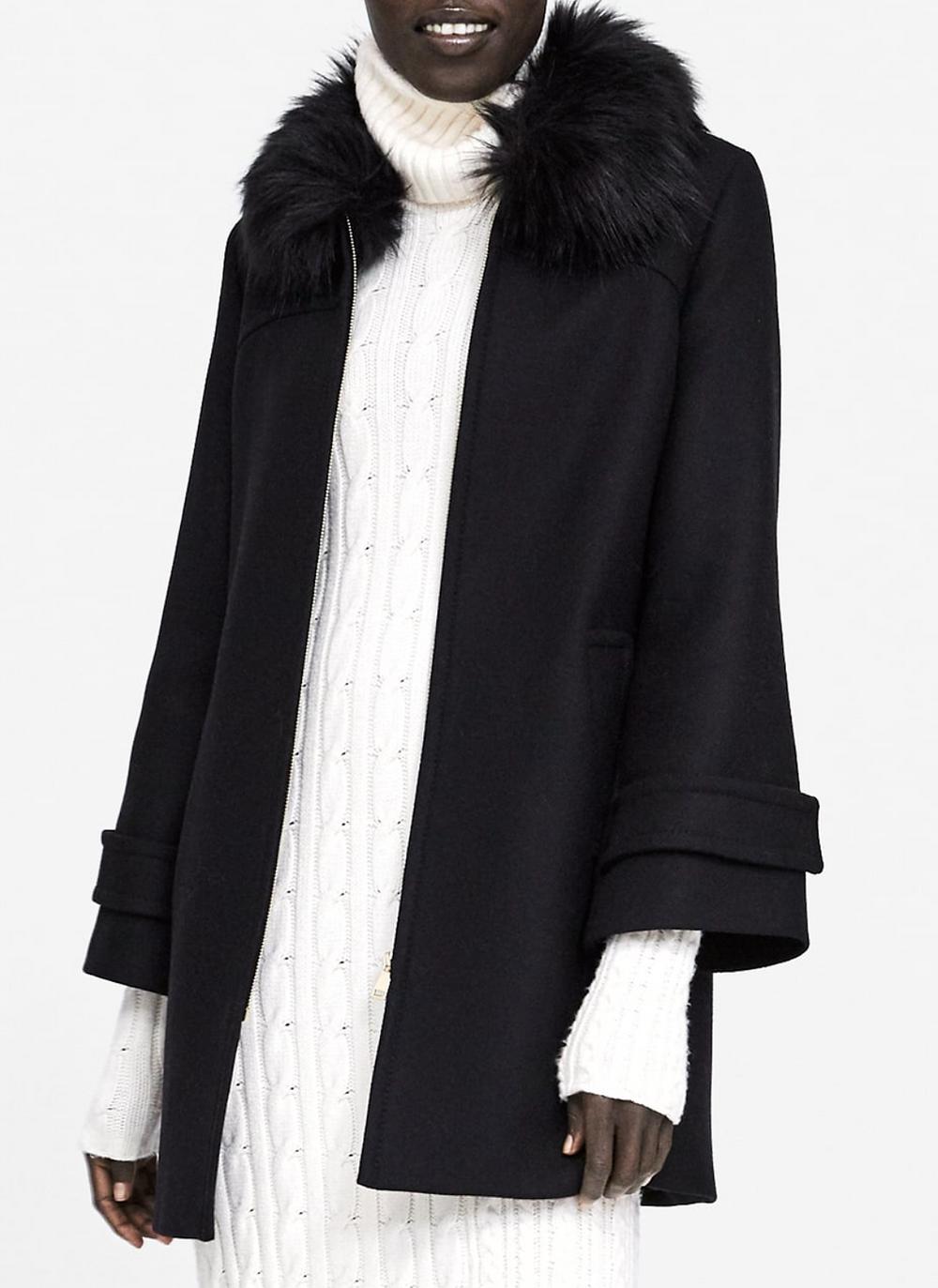 Abrigo con cuello Faux Fur removible