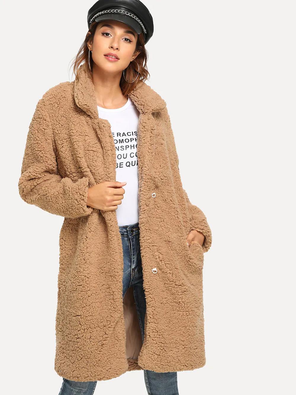 Shein abrigo cómodo estilo teddy
