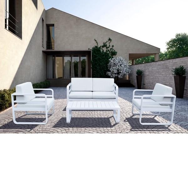TEKNO Tresillo 2Plz. aluminio blanco tapiceria Sunproof gris.