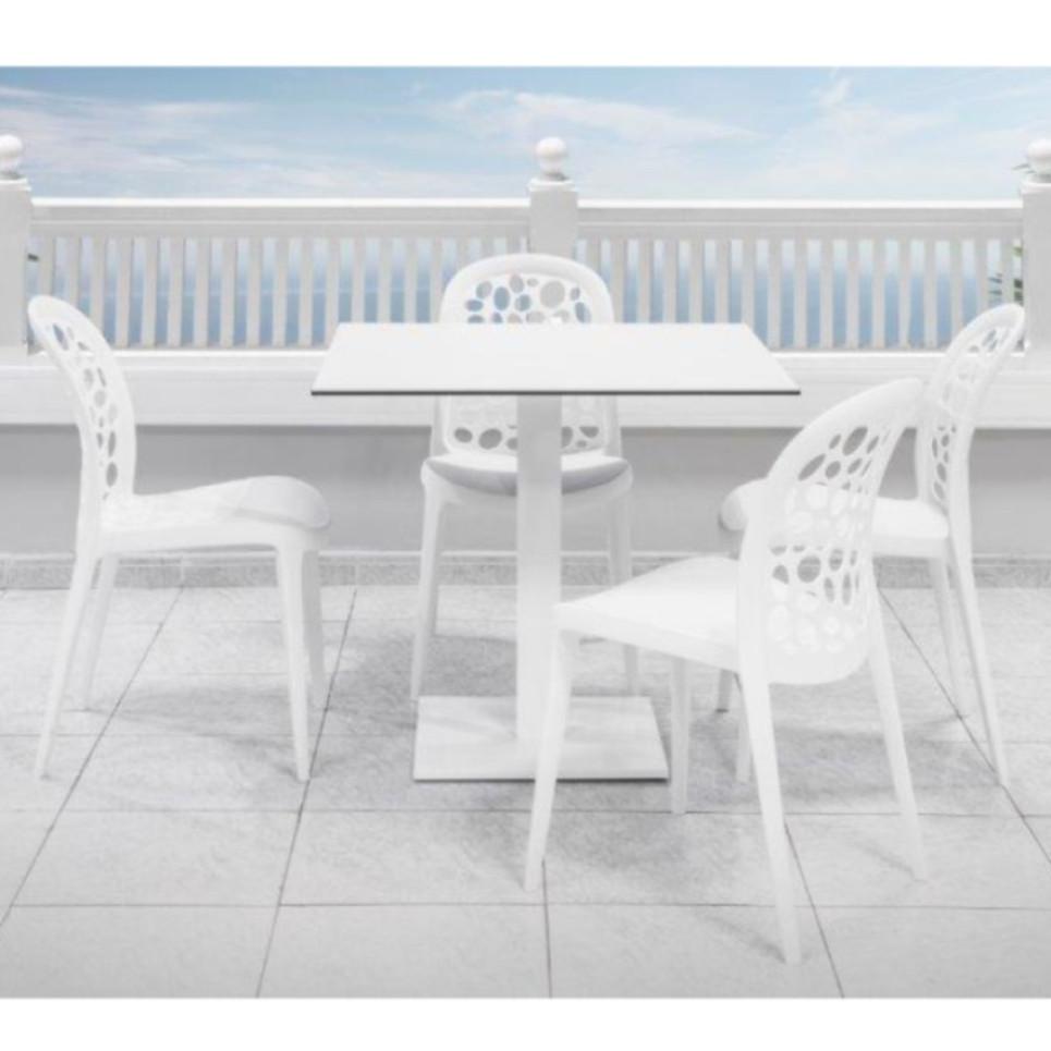 VIRGO Pie Mesa Aluminio Blanco. Tablero FENOLICO Compacto Blanco.