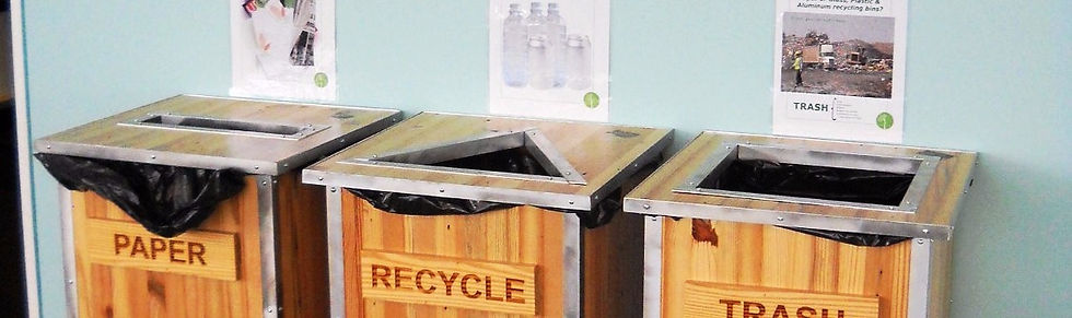 Recycling bins in our green clinic