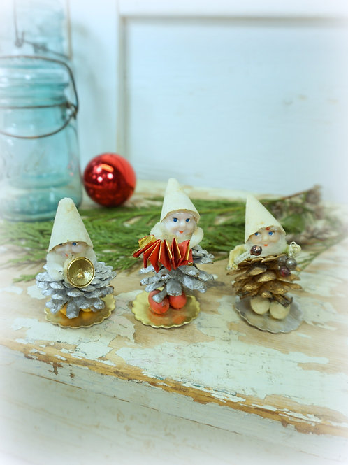Vintage Pine Cone Elves