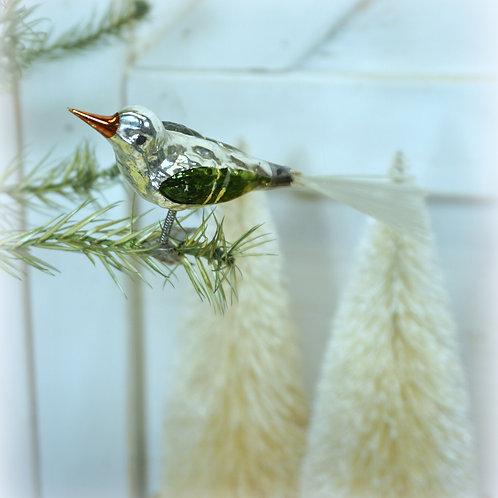 Antique Spun Glass Bird Clip