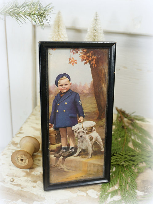 Antique Boy and Dog Picture
