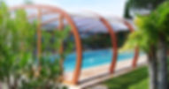 Abris piscine haut en bois lamellé collé