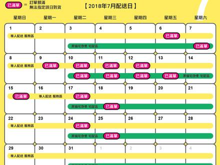 2018/7月配送日(7/22更新)