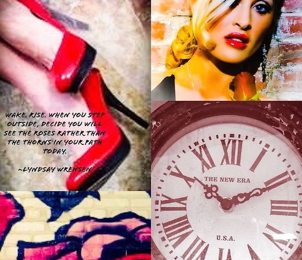 Model with rose: Lyndsay Wrensen; Photo by Woodrow Mason Photagraphy; Roses on Wall: Photo by Lyndsay Wrensen; Model with Red Shoes: Lyndsay Wrensen; Photographed by Ric Douglas; Clock Photo by Lyndsay Wrensen