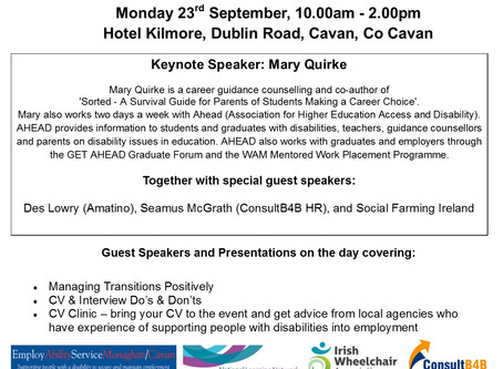 Cavan Disability Network: Employment MATTERS Event, 23rd September 2019