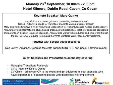 Cavan Disability Network: Employment MATTERS Event, 23rd September 2019