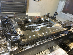 Machined plate in CNC mill