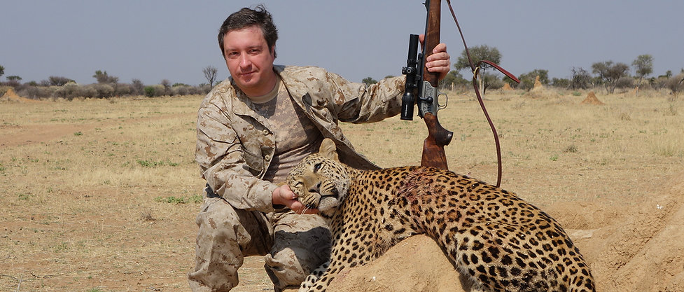 Trophy Hunter with leopard