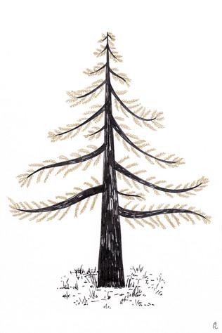 arbre noir et or