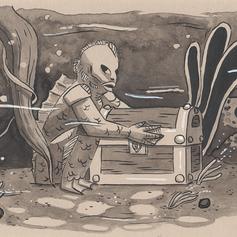"Inktober 10 ""La créature du lagon"""