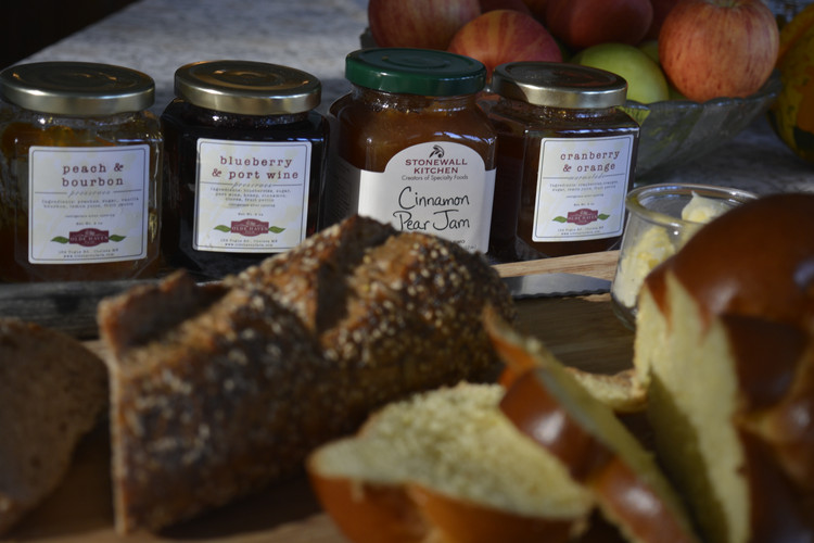Selection of breads and jams