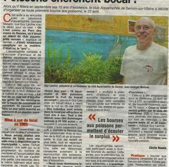 Article de journal '1ere Bourse Aquariophile Servonnaise'