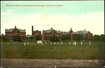 Postcard of Mimico Asylum Cricket Game Early 1900's
