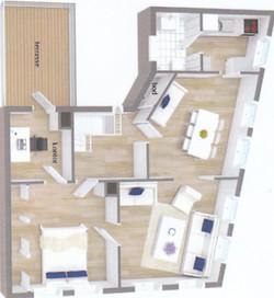 Main apartment floorplan, 63sqm