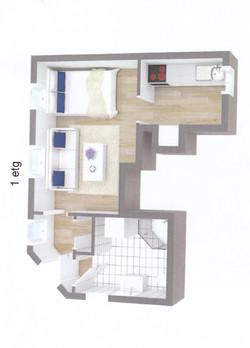 Studio-flat floorplan, 26sqm
