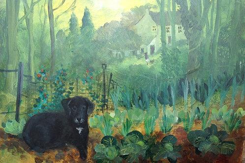 Bella in the Vegetable Garden SOLD