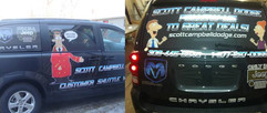 Van decals for customer shuttle at Scott