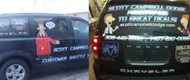 Van decals for customer shuttle at Scott