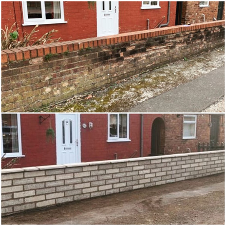 Completed by other PPS team members, brick wall dismantle and new concrete block wall comp