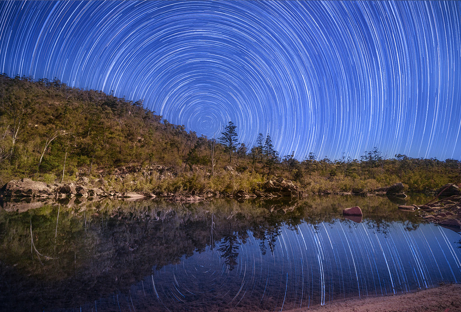 Star Trails on Running River