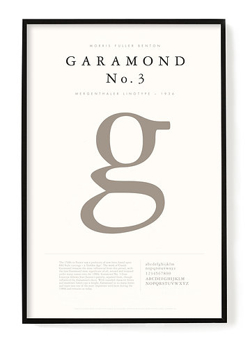 Garamond Typography Poster 24 x 36